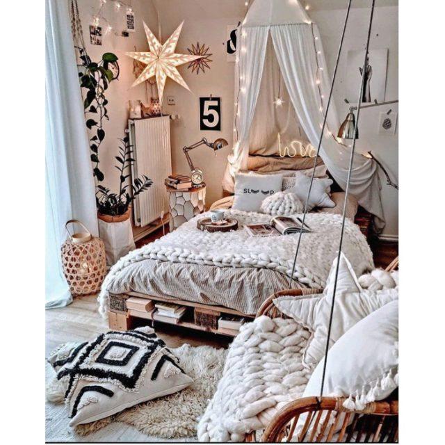 Dormitorio con estilo comfy